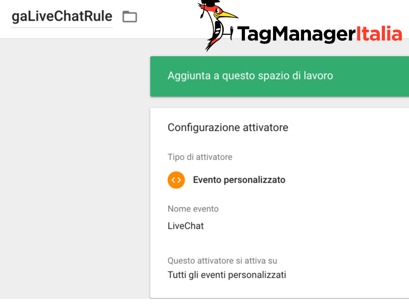 attivatore livechat google tag manager