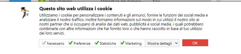 banner accettare cookie cookiebot gdpr