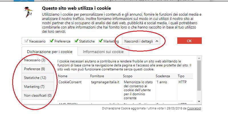 dettagli banner accettare cookie cookiebot gdpr