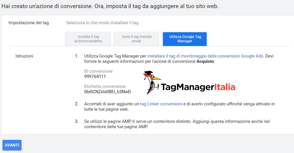 esempio di codice di conversione google ads installato con google tag manager