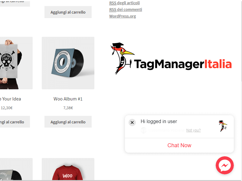 facebook chat messenger installato su sito google tag manager new