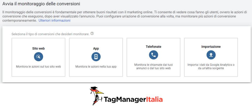installare amonitoraggio conversioni google ads sito web con google tag manager