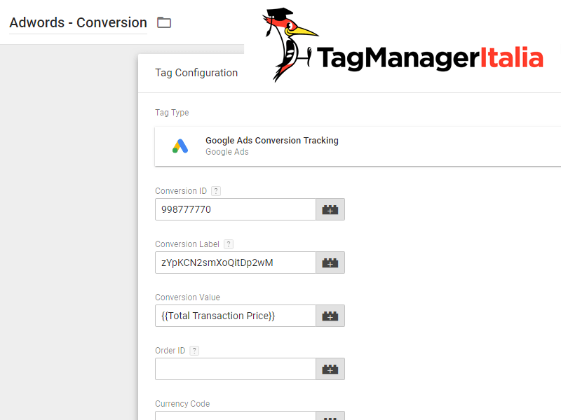 installare tag conversioni google tag manager