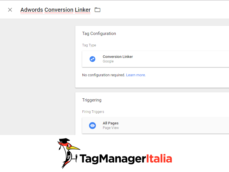 installare tag linker conversioni adwords con google tag manager