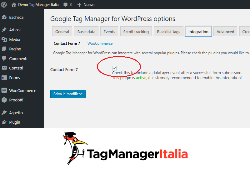 integrare contact form 7 google tag manager