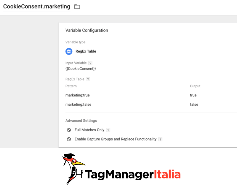 step 3 variabili preferenze cookiebot google tag manager