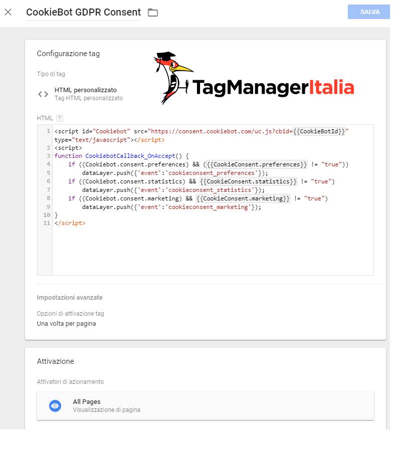 step 4 tag html personalizzato cookiebot google tag manager