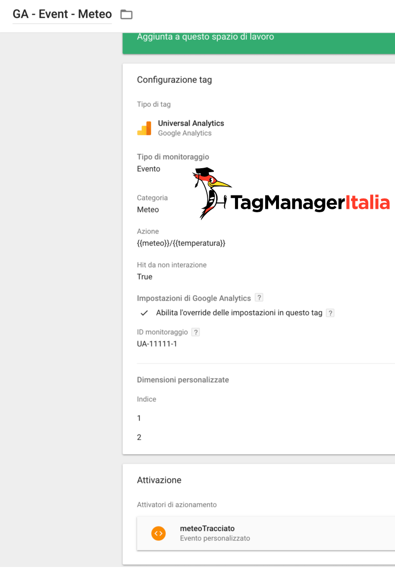 tag evento meteo temperatura google tag manager