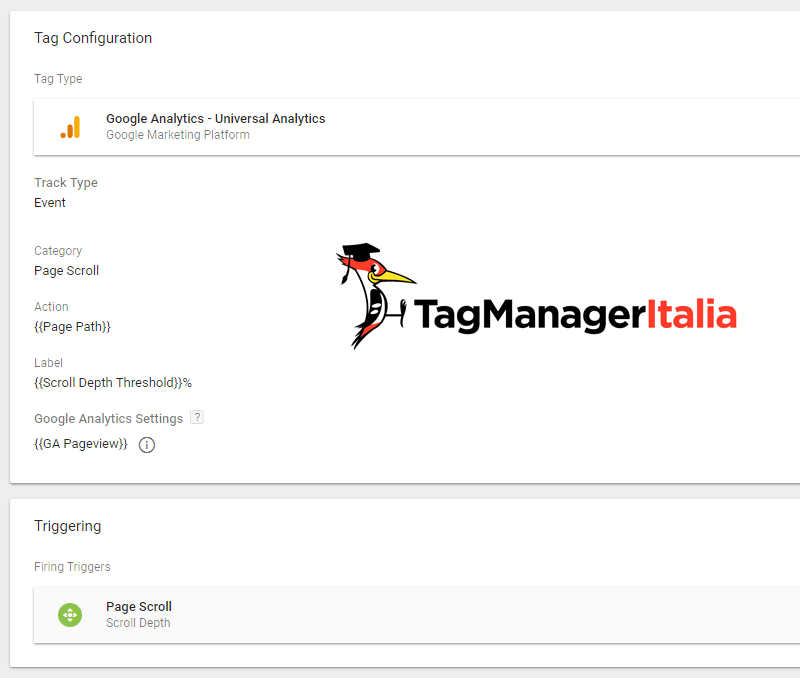 tag evento scroll pagina google tag manager