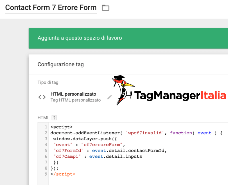 tag form errore google tag manager