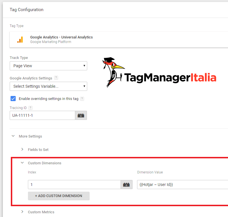 tag ga tracciare user id hotjar analytics google tag manager