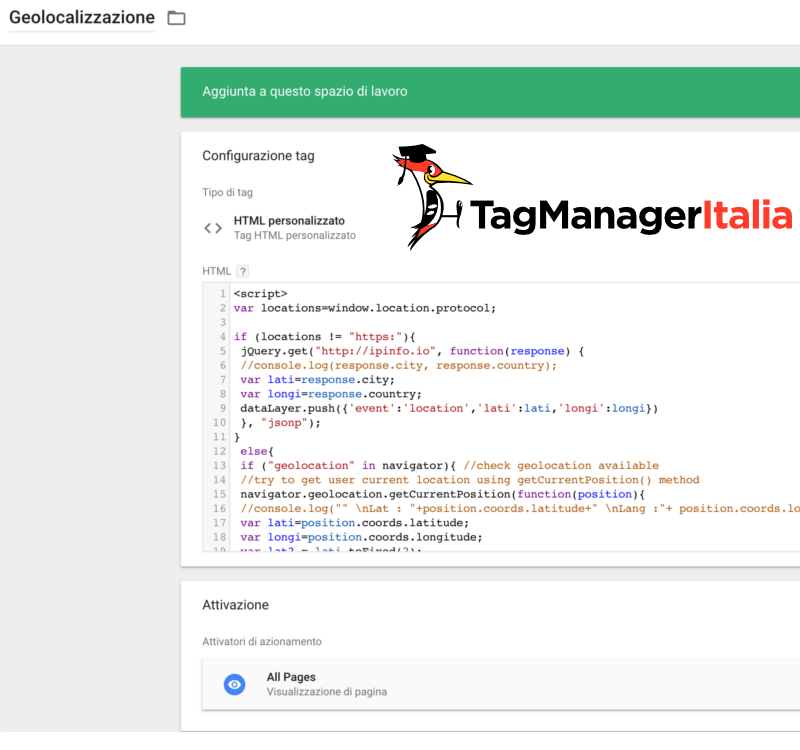 tag geolocalizzazione meteo google tag manager