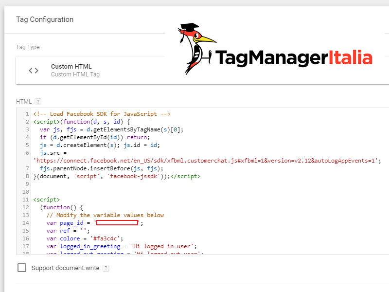 tag installare chat facebook messenger su sito con google tag manager new