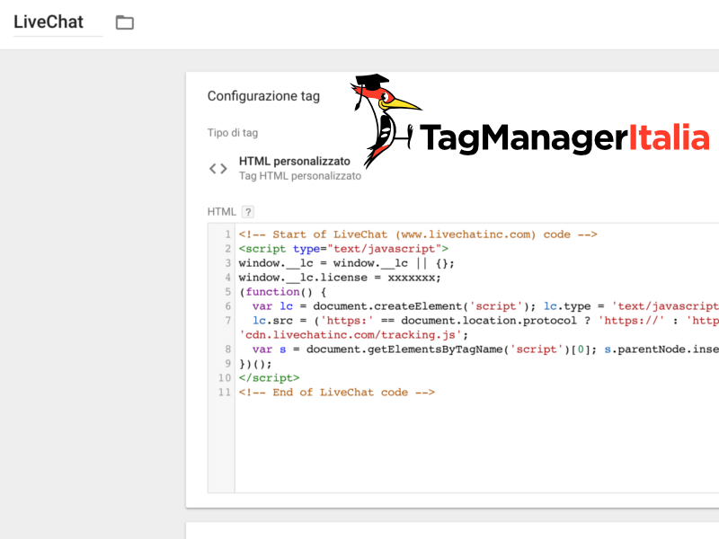 tag livechat google tag manager