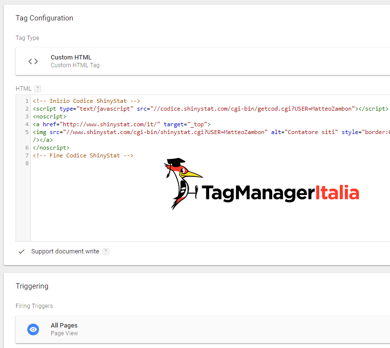 tag per installare shinystat con google tag manager