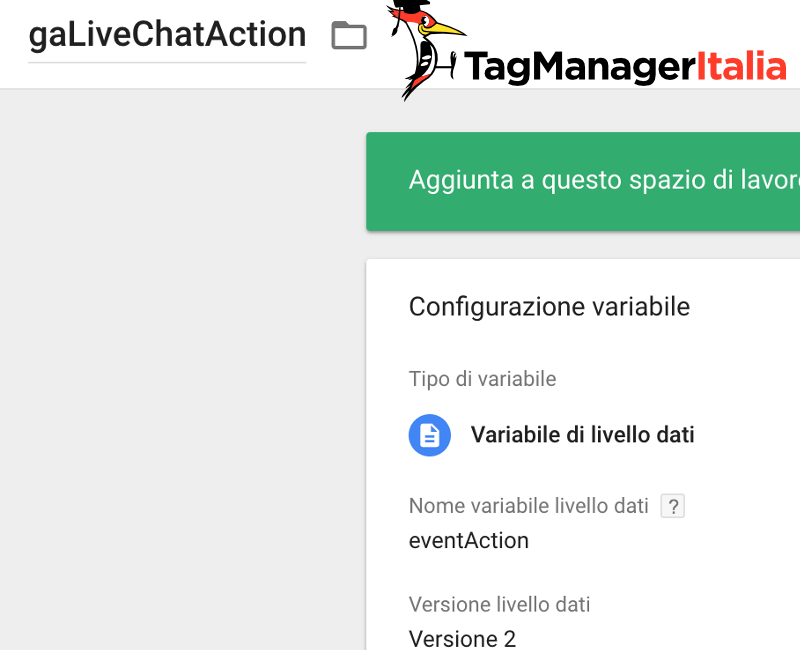 variabile azione livechat google tag manager