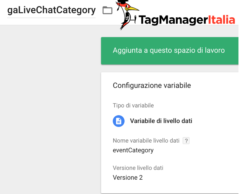 variabile categoria livechat google tag manager