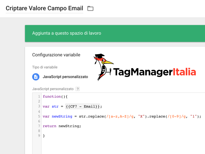 variabile dati criptati google tag manager