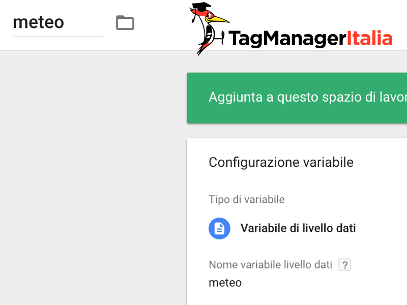 variabile meteo google tag manager