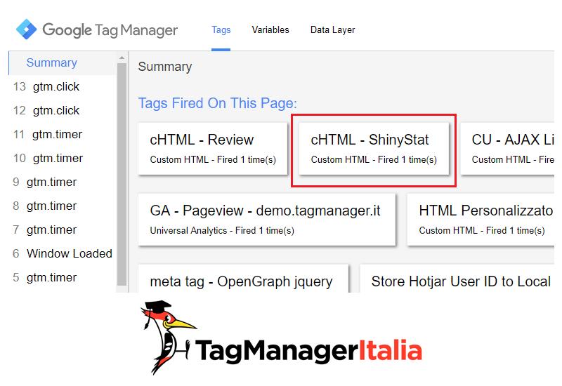 verifica installazione shinystat con google tag manager