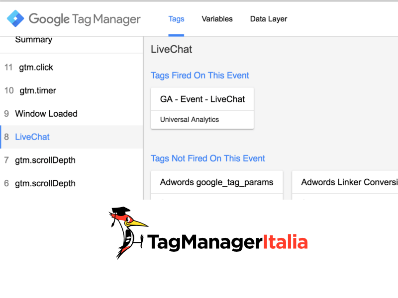 verifica tag livechat google tag manager