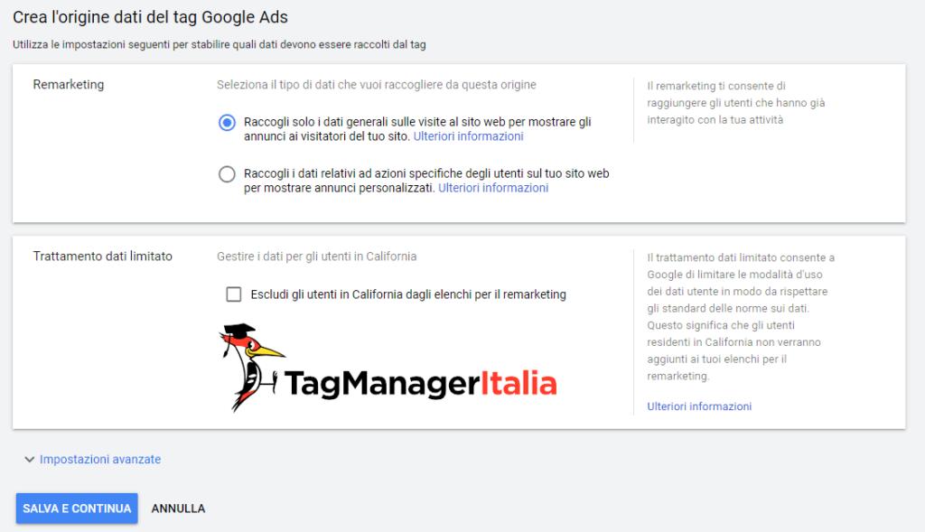 google ads gestione origini dati sul pubblico remarketing dati generali