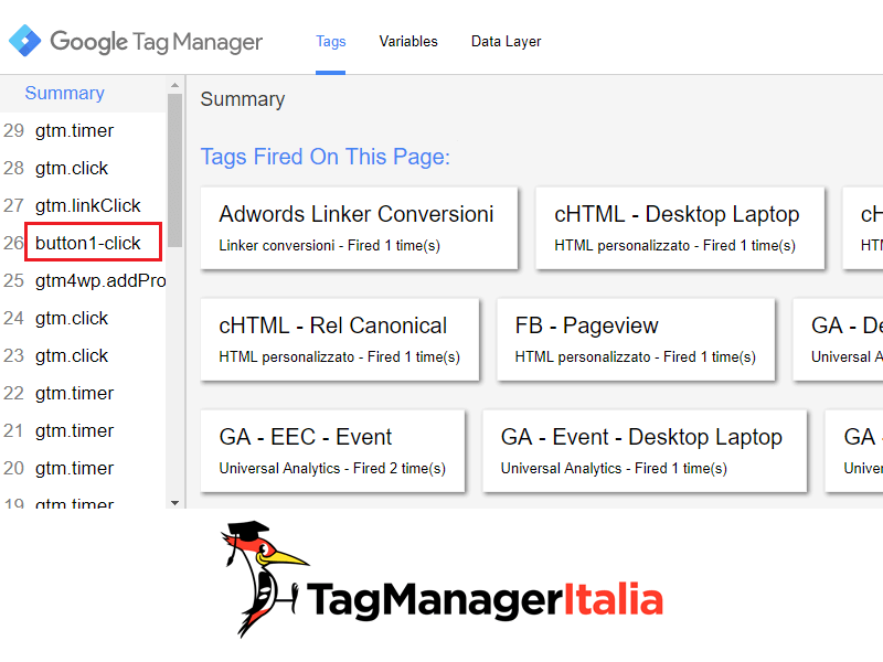 push evento data layer google tag manager