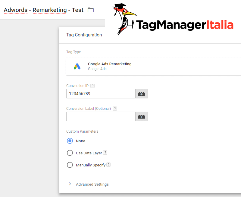 tag adwords remarketing google tag manager