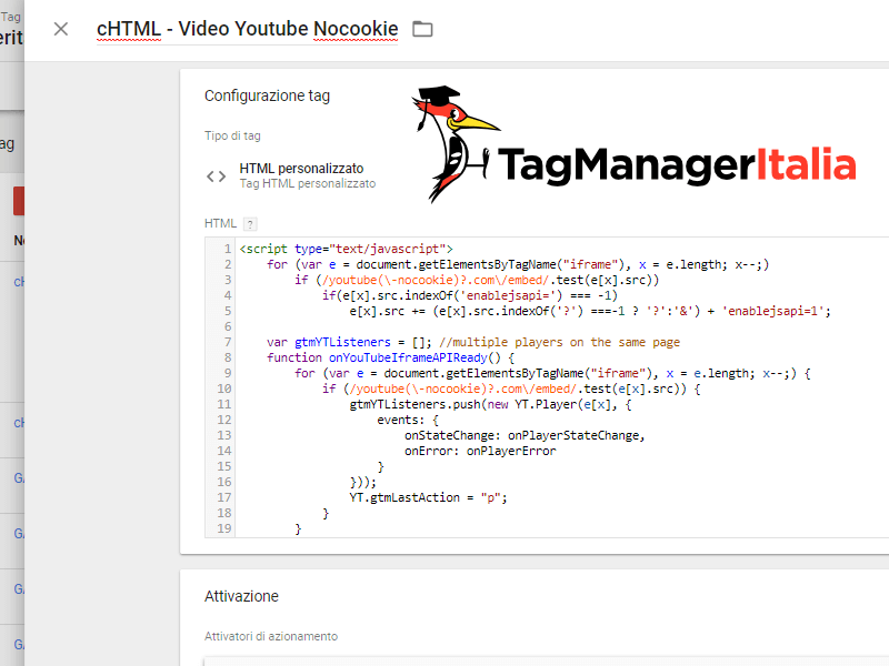 tag html tracciare video youtube nocookie google tag manager