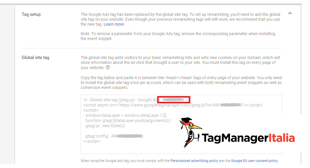 tag remarketing nuova interfaccia