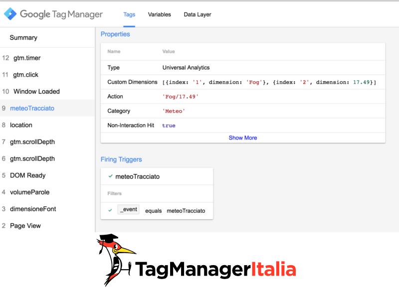 verifica meteo utente google tag manager