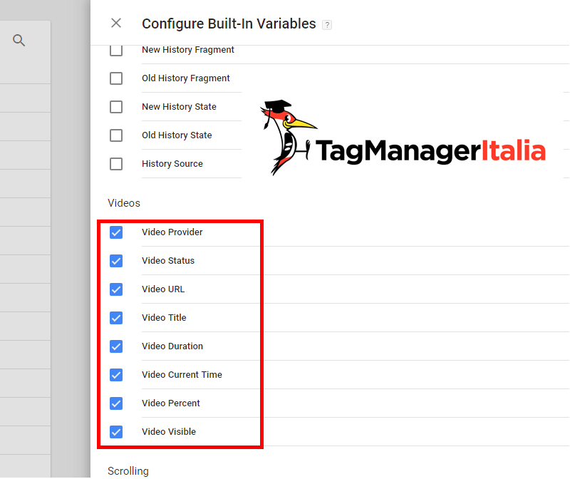 guida base google tag manager - variabili integrate video youtube variabili video