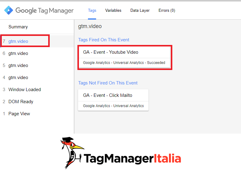 guida base verifica tracciare video youtube google tag manager 2