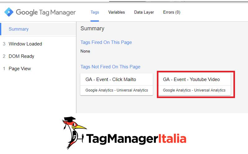 guida base verifica tracciare video youtube google tag manager