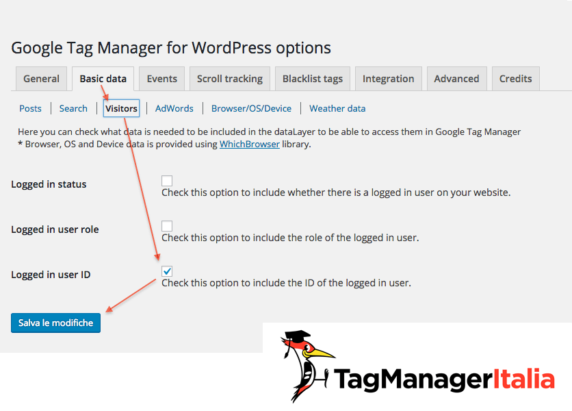plugin google tag manager for wordpress user id