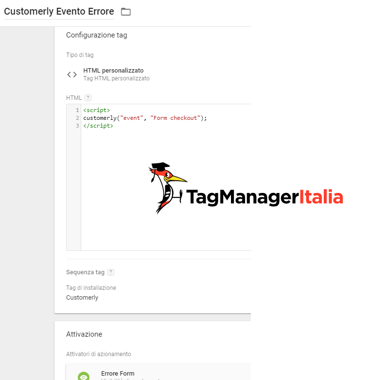 gestione eventi customerly con Google Tag Manager