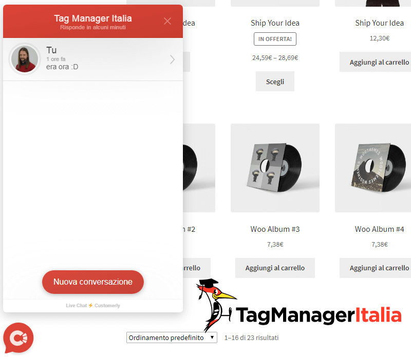 verifica widget customerly google tag manager