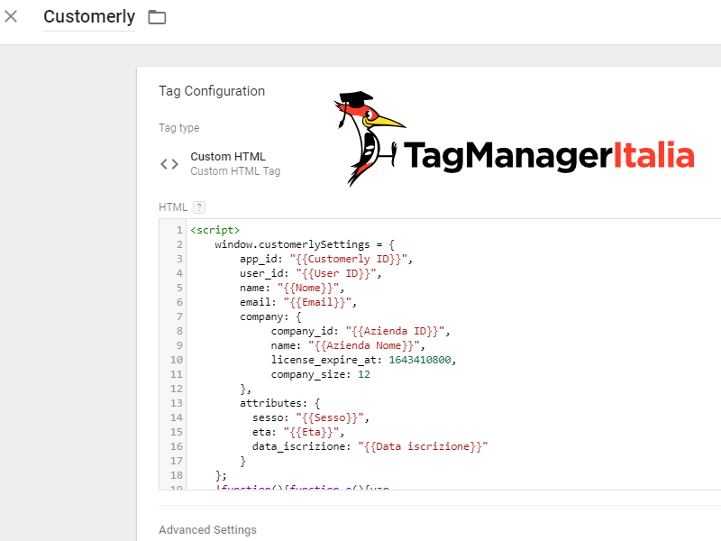 step1 - Tag HTML configurare customerlySettings con Google Tag Manager