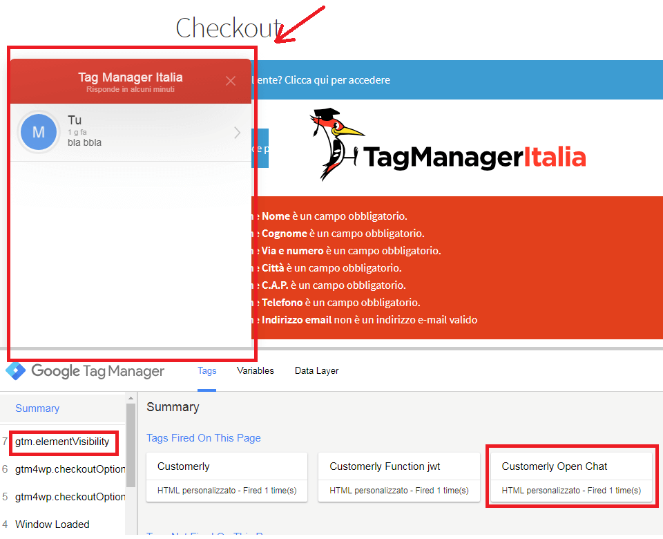 step3 - verifica tag html personalizzato customerly per aprire la chat