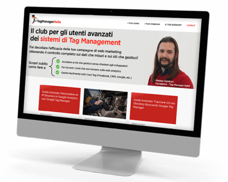 Schermata dashboard Club Tag Manager Italia