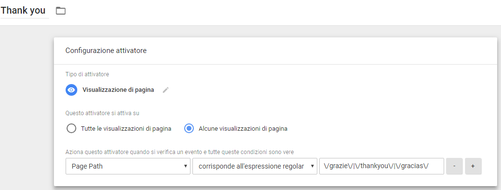 Esempio di Thank you page