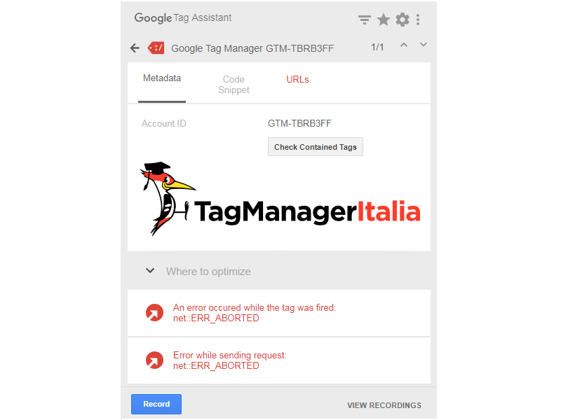 tag assistant error aborted in google tag manager