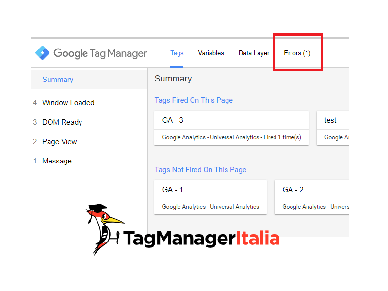 google tag manager tab errors in preview e debug mode