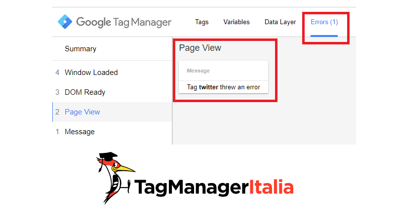 google tag manager tab errors twitter tag in preview e debug mode
