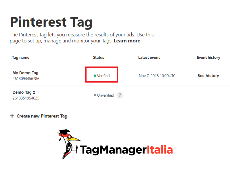pinterest verified check conversion tag script