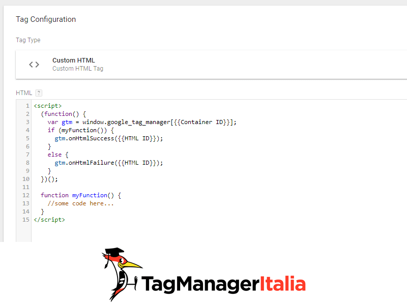 tag html personalizzato con callback sequenza tag in google tag manager