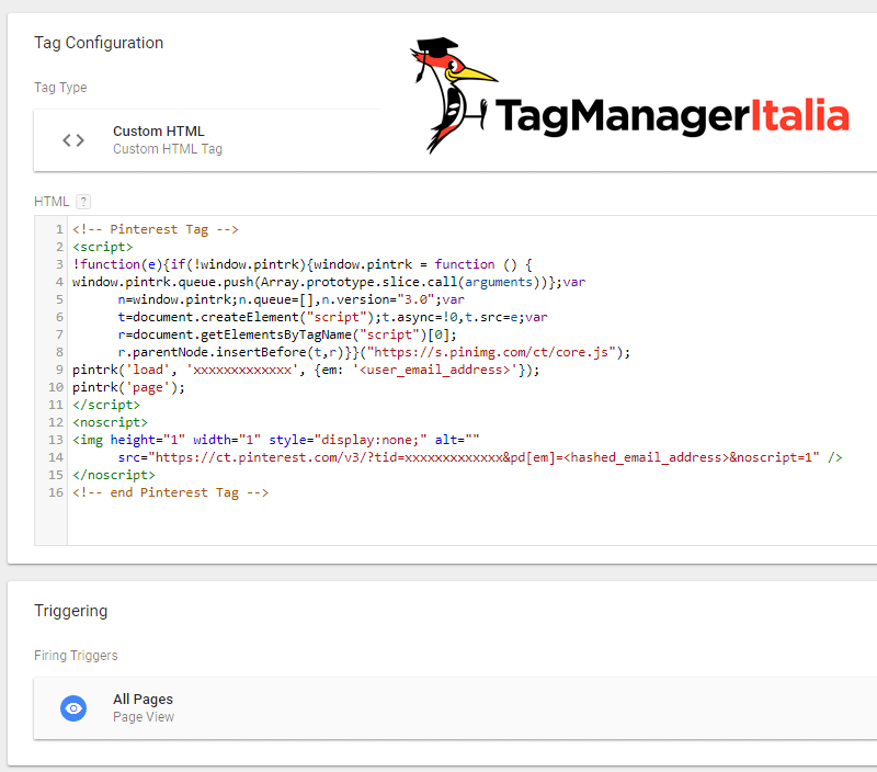tag html script pinterest conversion tag base code in google tag manager
