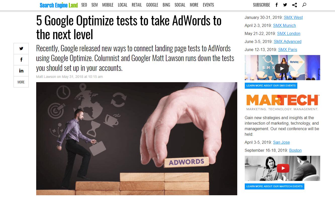 5 consigli per utilizzare Google Ads e Google Optimize