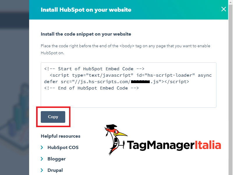 snippet tracking code hubspot per google tag manager