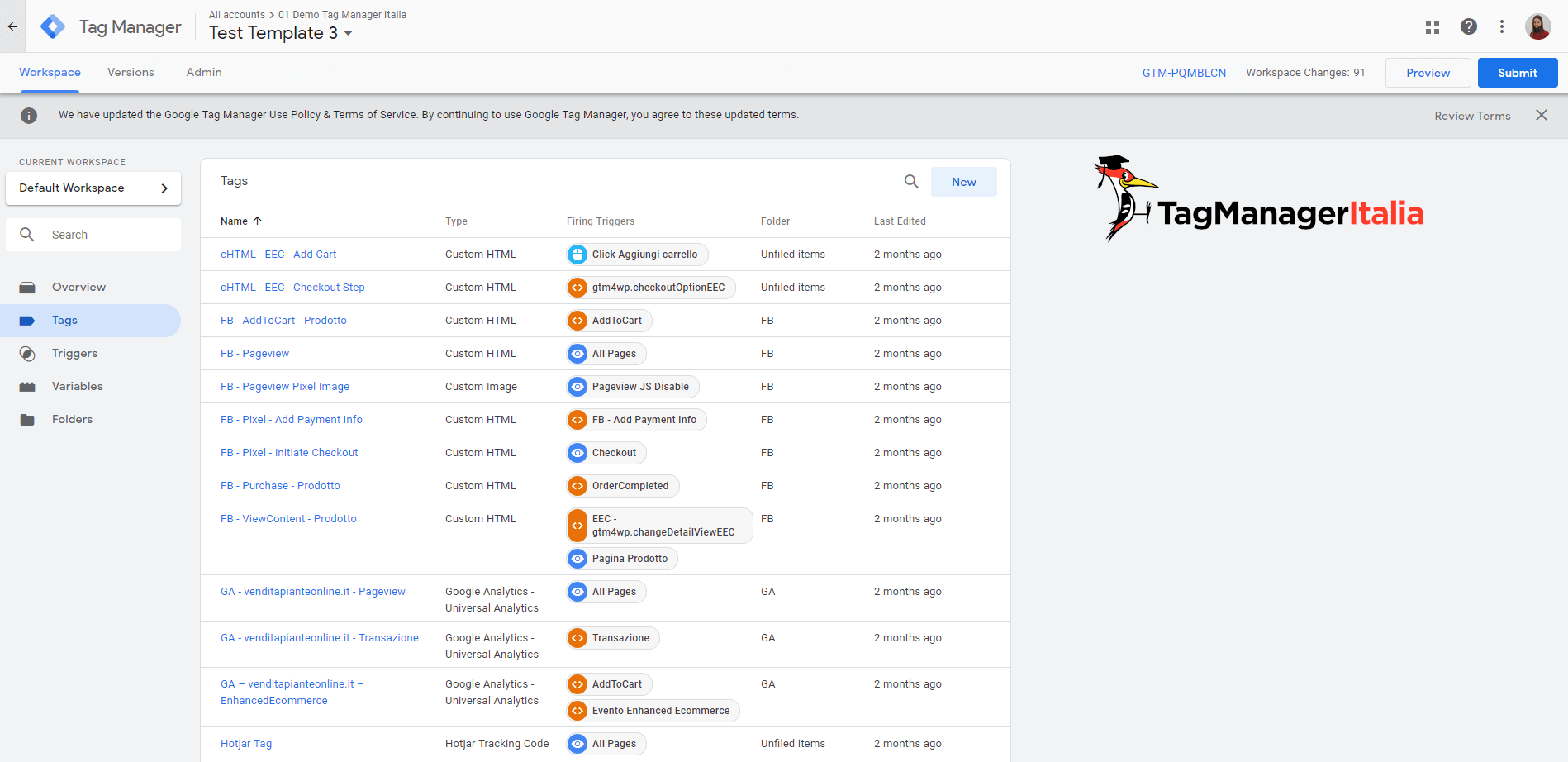 new user interface design google tag manager